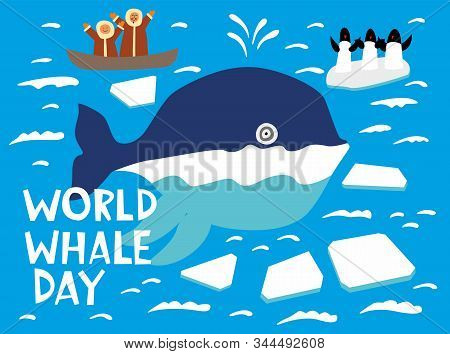 World Whale Day. Holiday Card. A Cute Whale Swims Across The Northern Ocean Among The Ice Floes. He