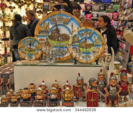 Rome, Italy - April 9, 2018: Traditional Roman Souvenirs In Rome, Italy. Souvenirs Store In Rome, It