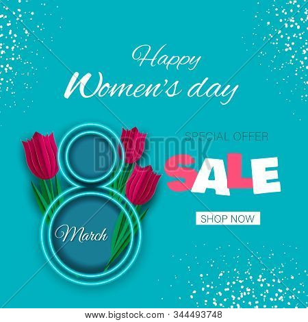 Happy women's day. Postcard for March 8. Neon number 8, red tulips in paper style. Discount banner, sale, space for text. You can write a wish, poems. Modern design, minimalism, fashionable turquoise color and pink number 8 are perfectly combined. 8 march