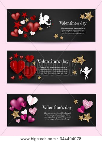 Valentine's, valentine day, Valentine's Day background, Valentine's day banners, Valentines Day flyer, Valentines Day design, Valentines Day with Heart on black background, Copy space text area, vector illustration.