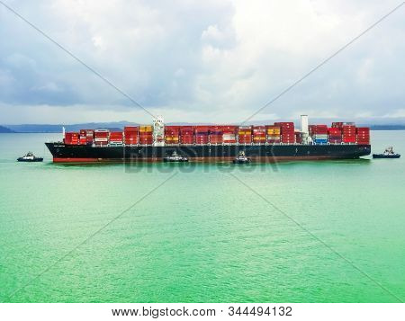 Panama Canal, Panama - December 7, 2019: Maersk Line Container Cargo Ship At Panama Canal. It Is The