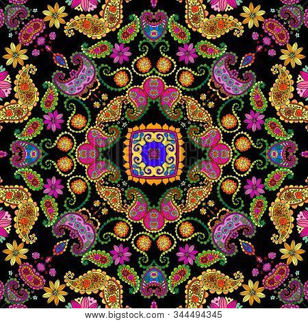 Beautiful Floral Ornament With Bright Flowers And Paisley. Festive Seamless Pattern. Bandana Print.
