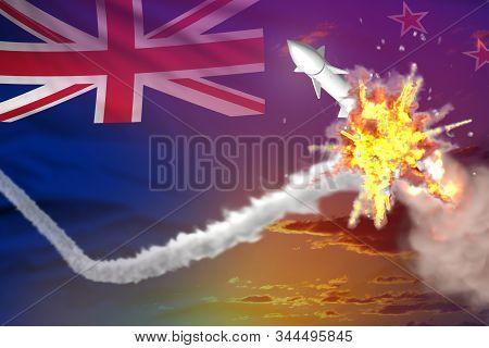 New Zealand Intercepted Supersonic Missile, Modern Antirocket Destroys Enemy Missile Concept, Milita
