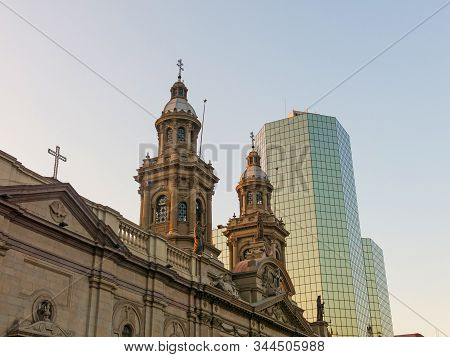 Metropolitan Cathedral Of Santiago, In The Armas Square. It Is The Main Temple Of The Catholic Churc