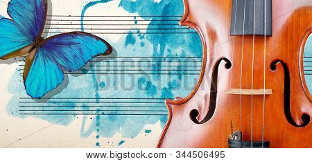 Butterfly, Violin And Notes. Blue Morpho Butterfly And Violin. Melody Concept. Photo Of Old Music Sh