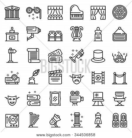Theater Museum Icons Set. Outline Set Of Theater Museum Vector Icons For Web Design Isolated On Whit