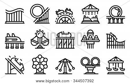Roller Coaster Icons Set. Outline Set Of Roller Coaster Vector Icons For Web Design Isolated On Whit