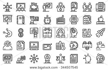 Business Training Icons Set. Outline Set Of Business Training Vector Icons For Web Design Isolated O