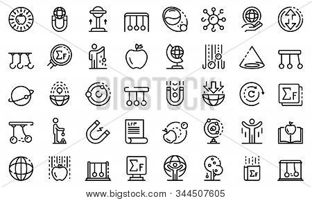 Newtons Day Icons Set. Outline Set Of Newtons Day Vector Icons For Web Design Isolated On White Back