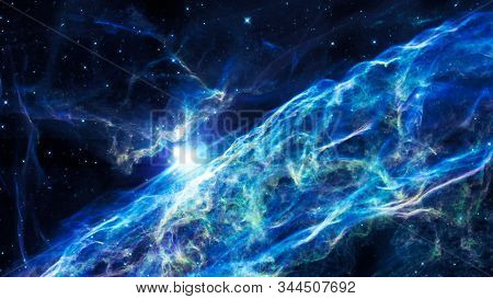 Nebula And Galaxies In The Universe. Abstract Space Background. Panoramic View Of Deep Cosmos. Magic