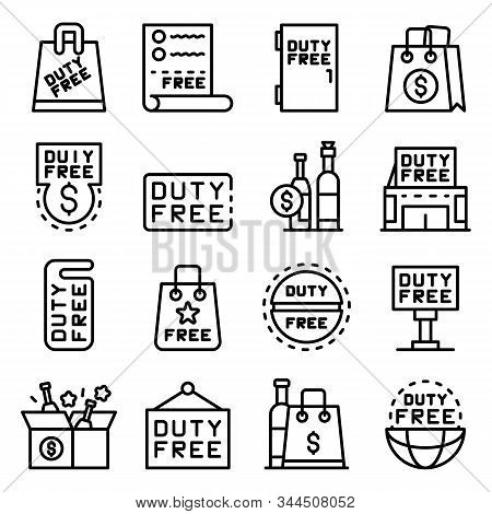 Duty Free Shop Icons Set. Outline Set Of Duty Free Shop Vector Icons For Web Design Isolated On Whit