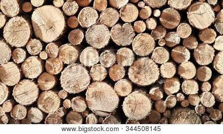 Lumber, Wooden Wallpaper, Nature. Stack Of Logs. A Pile Of Firewood Nearby. Ready Cuttings For The F