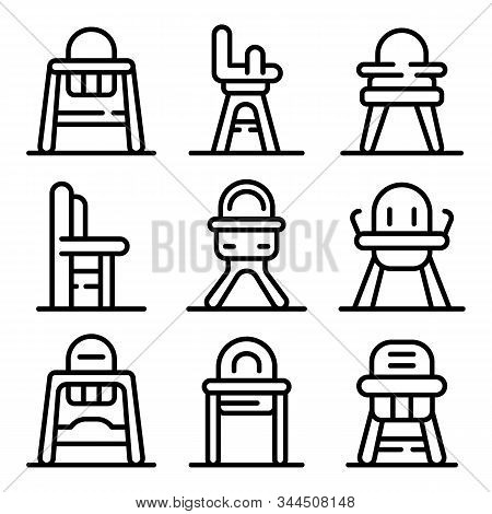Feeding Chair Icons Set. Outline Set Of Feeding Chair Vector Icons For Web Design Isolated On White