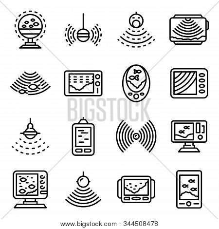 Echo Sounder Icons Set. Outline Set Of Echo Sounder Vector Icons For Web Design Isolated On White Ba