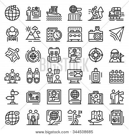 Guide Icons Set. Outline Set Of Guide Vector Icons For Web Design Isolated On White Background