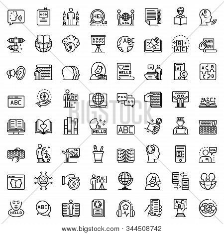 Linguist Icons Set. Outline Set Of Linguist Vector Icons For Web Design Isolated On White Background