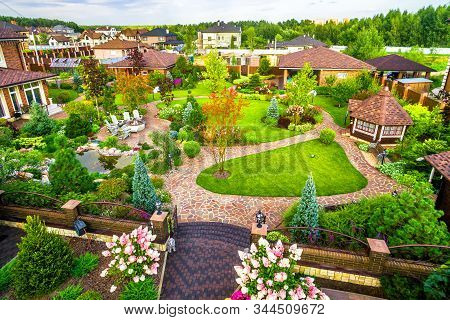 Moscow Region - Aug 24, 2019: Landscape Design At Residential House Taken From Above. Beautiful Land
