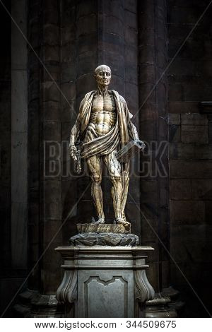 Milan, Italy - May 16, 2017: Statue Of St Bartholomew Flayed Inside Famous Milan Cathedral (duomo Di