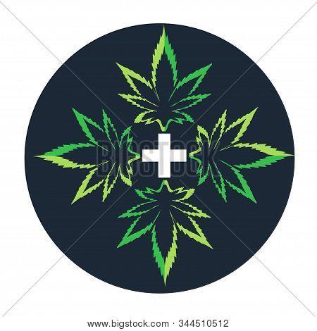 Marijuana Icons Cbd. Cannabinoid Logo. Marijuana Leaf Oil. Hemp Oil. Vector Illustration On Isolated