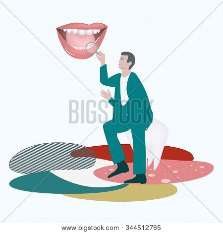 Doctor Sits On Molar, Magnifier In Hand, Looks In Open Mouth, Teeth - Abstract Background - Vector.