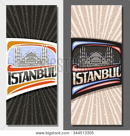 Vector Vertical Layouts For Istanbul, Decorative Leaflet With Line Illustration Of Sultan Ahmet Cami