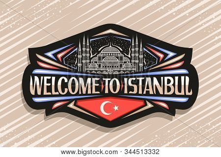 Vector Logo For Istanbul, Dark Decorative Label With Draw Illustration Of Famous Sultanahmet Camii O