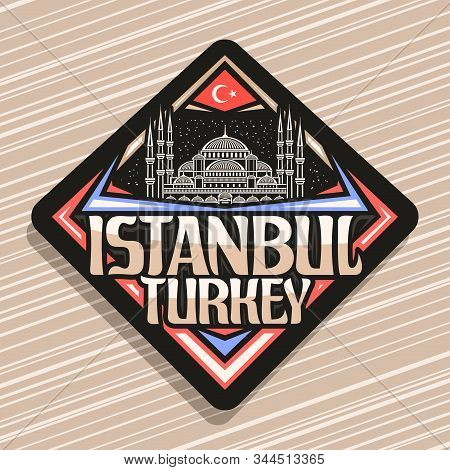 Vector Logo For Istanbul, Dark Rhombus Badge With Line Illustration Of Famous Sultanahmet Camii On S