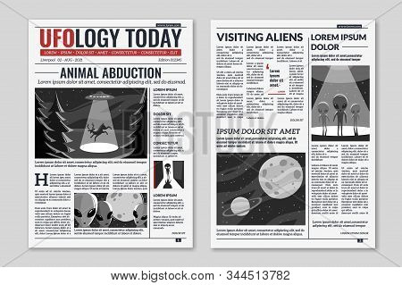 Ufo Newspaper. Newspaper Columns With Text, Media News Headlines Extraterrestrial Civilizations And