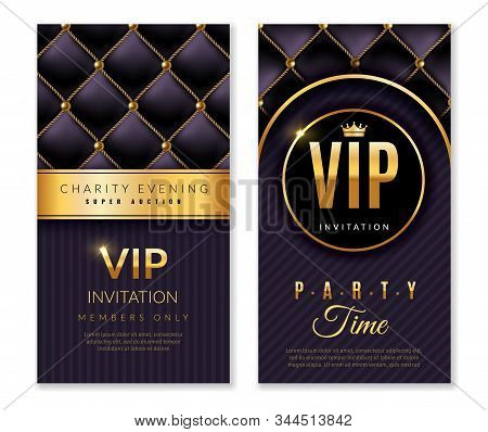 Vip Banners. Premium Invitation Card With Golden Elements, Celebration Party, Luxury Glamour Design