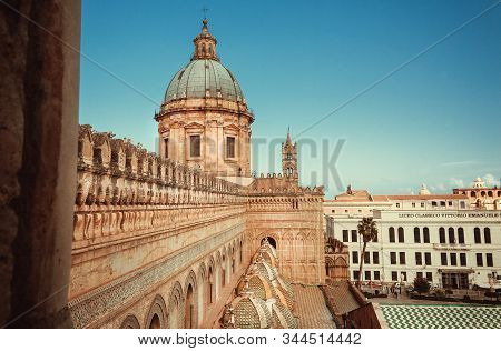 Palermo, Italy: Dome Of The 18th Century Catholic Palermo Cathedral, Presence Of Different Styles Of