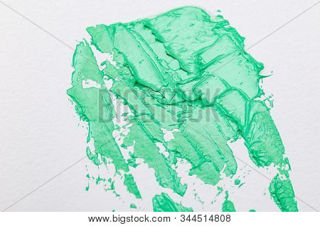 Aqua Menthe Color 2020. Green Paint Strokes. Texture