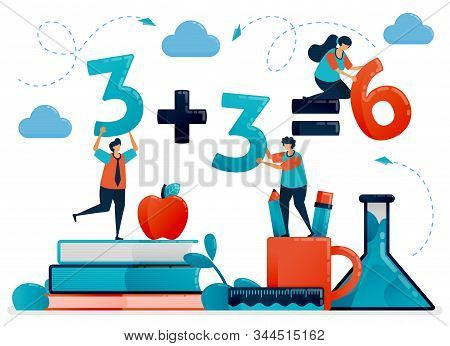 Education For Children. Mathematic Lesson To Count And Number. Kids Learning In School. Preschool Ki