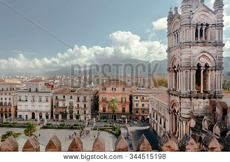 Palermo, Italy: City View From Top Point Of The 18th Century Catholic Palermo Cathedral With Towers