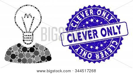 Mosaic Bulb Inventor Icon And Corroded Stamp Seal With Clever Only Text. Mosaic Vector Is Created Wi