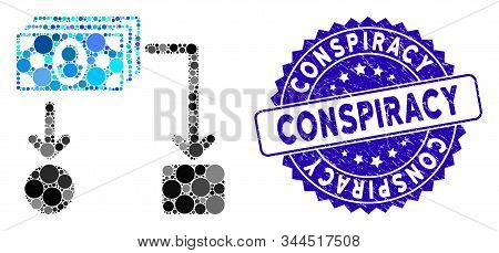 Mosaic Cashflow Icon And Corroded Stamp Watermark With Conspiracy Phrase. Mosaic Vector Is Designed