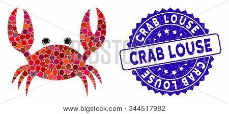 Mosaic Crab Icon And Rubber Stamp Seal With Crab Louse Text. Mosaic Vector Is Composed With Crab Ico