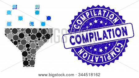 Mosaic Data Filter Icon And Rubber Stamp Seal With Compilation Phrase. Mosaic Vector Is Composed Fro