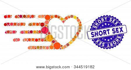 Mosaic Fast Love Heart Icon And Grunge Stamp Seal With Short Sex Phrase. Mosaic Vector Is Composed F
