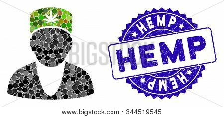 Mosaic Hemp Doctor Icon And Corroded Stamp Seal With Hemp Caption. Mosaic Vector Is Designed With He
