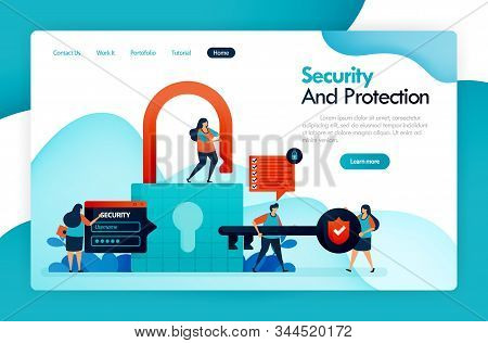 Landing Page For Security And Protection, Padlock And Lock, Hacking User Data, Privacy And Financial