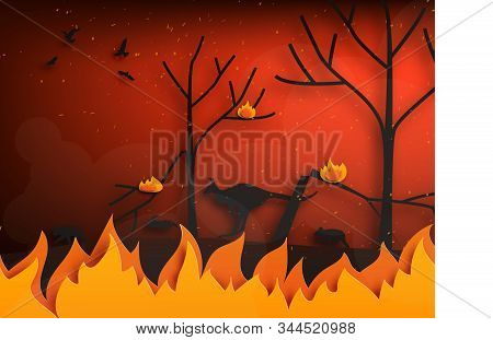 Forest Fires With Silhouettes Of Wild Animals Fleeing Fire In Paper Cut Style. Digital Craft Paper A