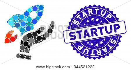 Mosaic Startup Icon And Distressed Stamp Watermark With Startup Phrase. Mosaic Vector Is Designed Fr