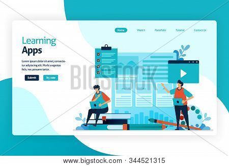 Illustration Of Landing Page For Learning Apps. Education Process Of Learning Knowledge, Skills, Val