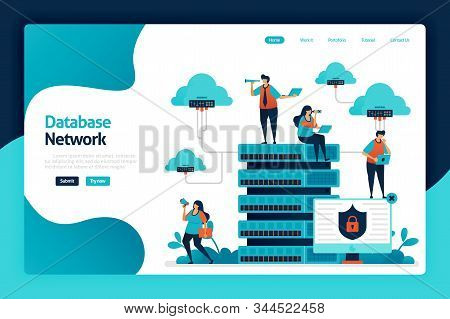 Database Network Landing Page Design. Data Network From Cloud, Server And Hosting To Data Center. Da