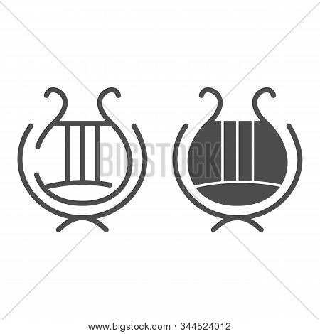 Greek Lyre Instrument Line And Glyph Icon. Ancient Lira Instrument Vector Illustration Isolated On W