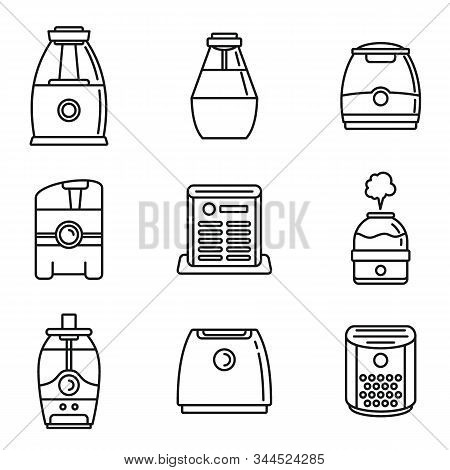 Home Air Purifier Icons Set. Outline Set Of Home Air Purifier Vector Icons For Web Design Isolated O
