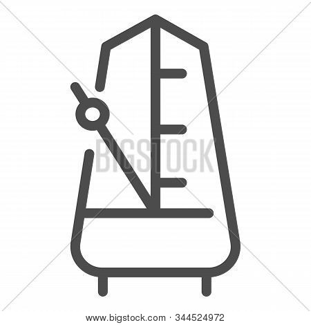 Metronome With Moving Pendulum Line Icon. Tempo Vector Illustration Isolated On White. Musical Equip