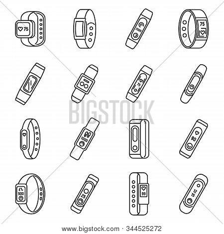 Sport Fitness Bracelet Icons Set. Outline Set Of Sport Fitness Bracelet Vector Icons For Web Design