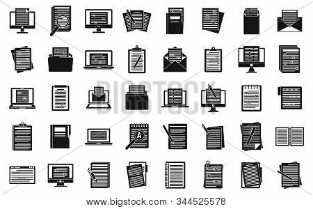 Editor Document Icons Set. Simple Set Of Editor Document Vector Icons For Web Design On White Backgr