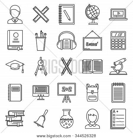 Lesson Teacher Icons Set. Outline Set Of Lesson Teacher Vector Icons For Web Design Isolated On Whit